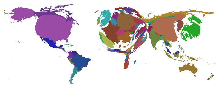 The world sized by Gross National Product (GDP).
