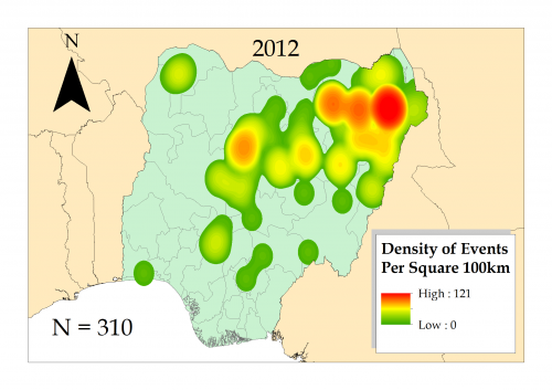 Kernel density map of Boko Haram conflicts in Nigeria 2012