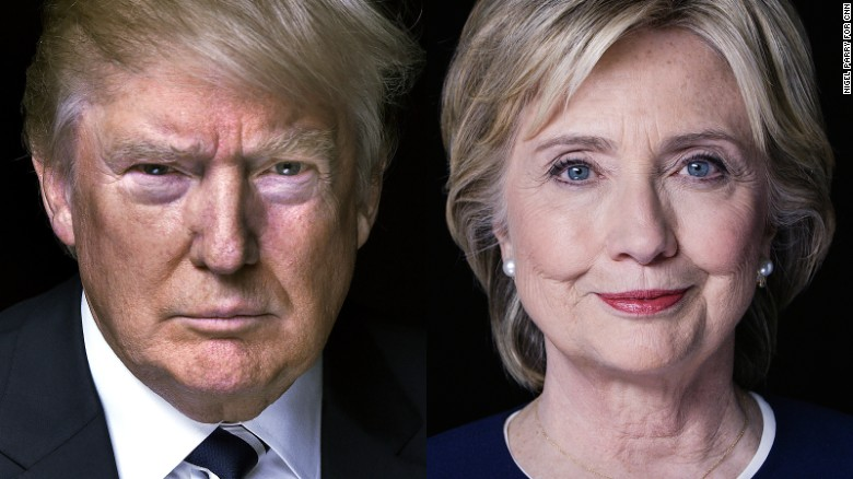 Portraits of Donald Trump and Hillary Clinton