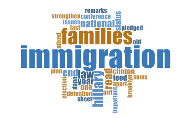 Word cloud presenting 30 most commonly used words in Clinton's position on immigration