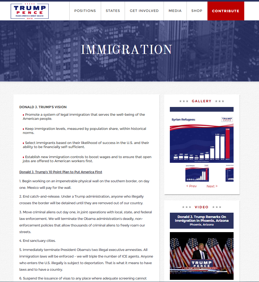 Screenshot of Donald Trump's Immigration Reform Webpage