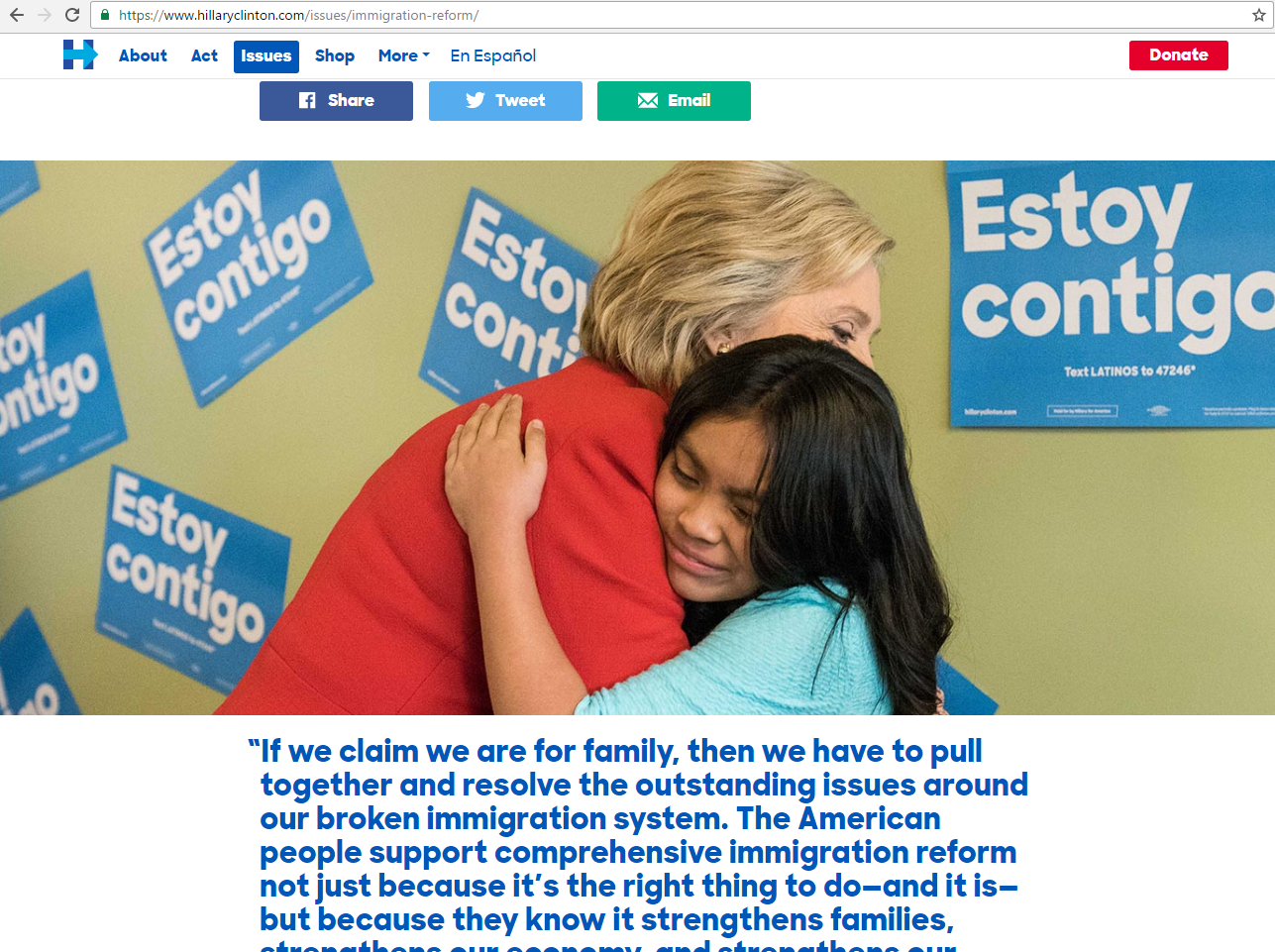 Screenshot of Hillary Clinton's Immigration Reform Webpage